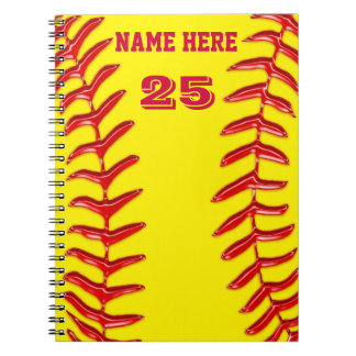 Cute PERSONALIZED Softball Notebooks, YOUR TEXT Notebook