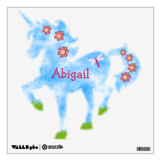 Cute Personalized Unicorn with Sky and Flowers Wall Sticker