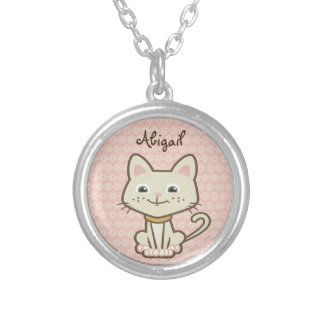 Cute Personalized White Kitty Cat Necklace