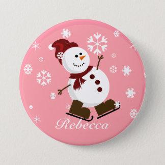 Cute Personalized Xmas Snowman Button
