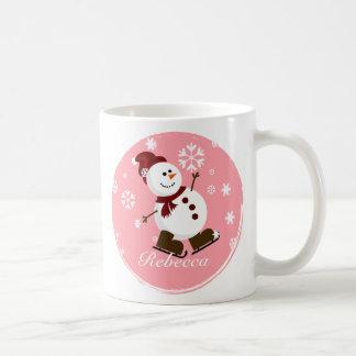Cute Personalized Xmas Snowman Classic White Coffee Mug