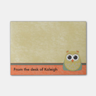 Cute Personalized Yellow Green and Orange Owl Post-it® Notes