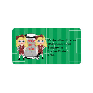 Cute personalizedphoto soccer girl  Address labels