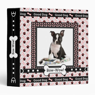 Cute Pet Dog Records Paws and Bones 3 Ring Binder