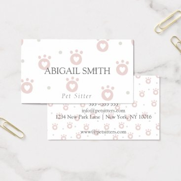 Professional Business Cute Pet Paws with Hearts Pet Sitter Business Card