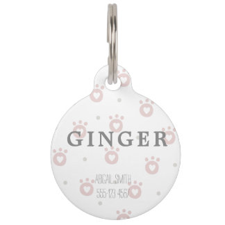 Cute Pet Paws with Hearts Round Large Pet Tag