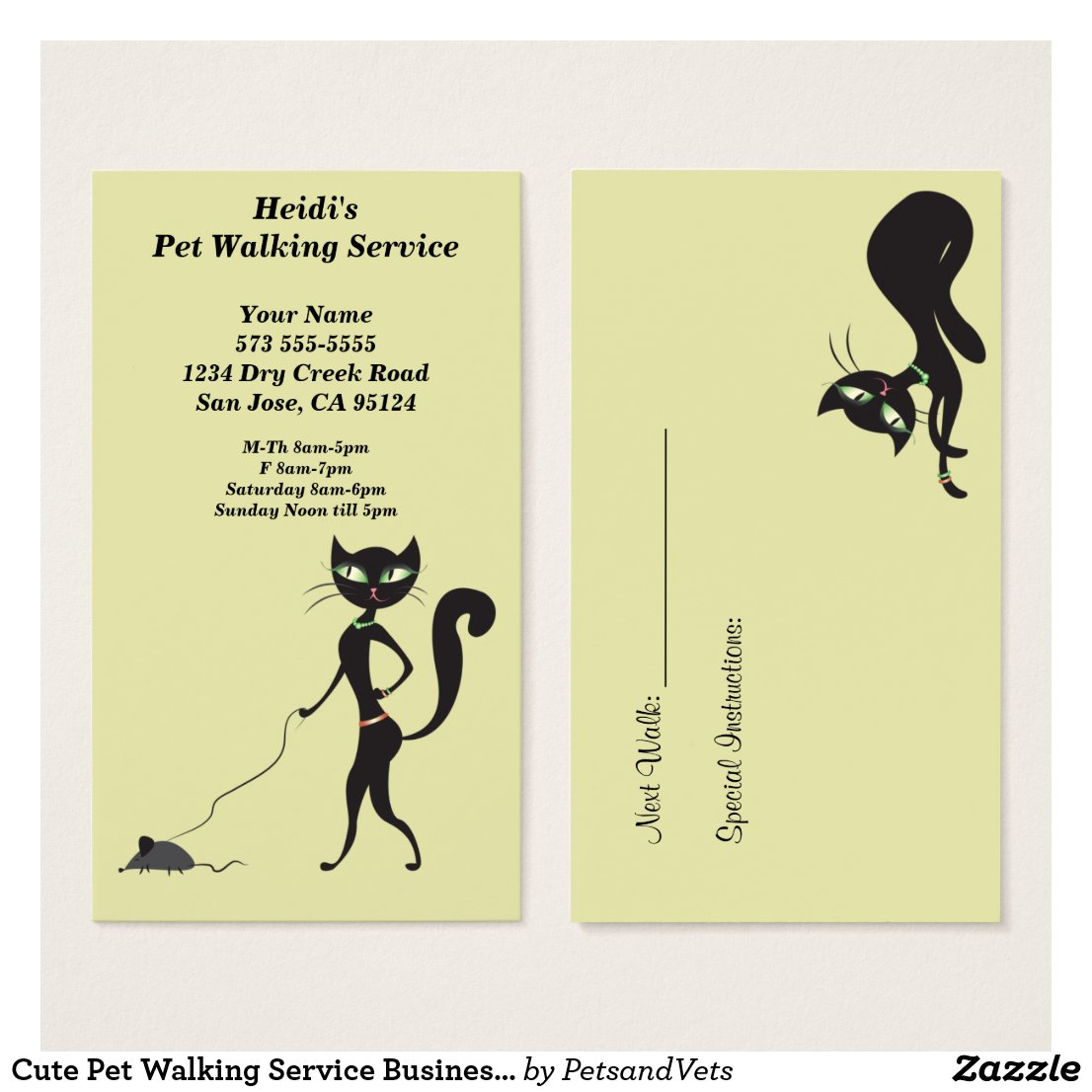 Cute Pet Walking Service Business Card