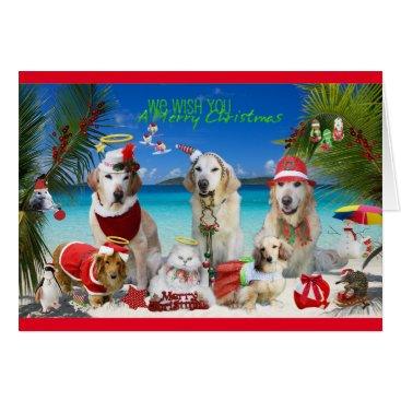 Beach Themed Cute Pets Celebrating Christmas at the Beach Card