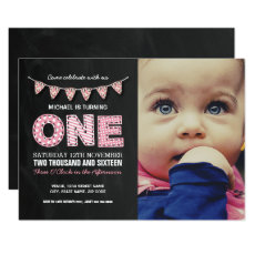 Cute Photo Baby Girl First Birthday Party Invitation