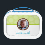 """CUTE PHOTO bright polka dot pattern boy lime green Lunch Box<br><div class=""""desc"""">Package up your lunch with style with these cool personalized lunchboxes! Your kids with be the envy at school with one of these little numbers =) Setup as a template it is easy to customize with your own text - make it yours! Simply hit the &quot;Customize it&quot; button and add/change...</div>"""