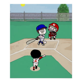Cute Photo face template baseball players Poster