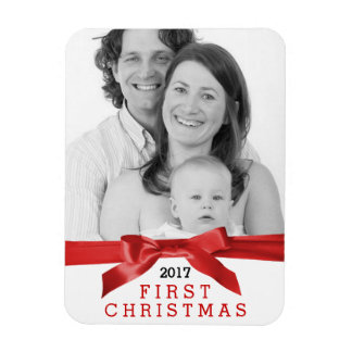 Cute Photo First Christmas with Red Satin Ribbon Flexible Magnets