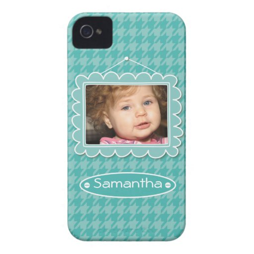 Cute photo frame with houndstooth pattern blackberry cases