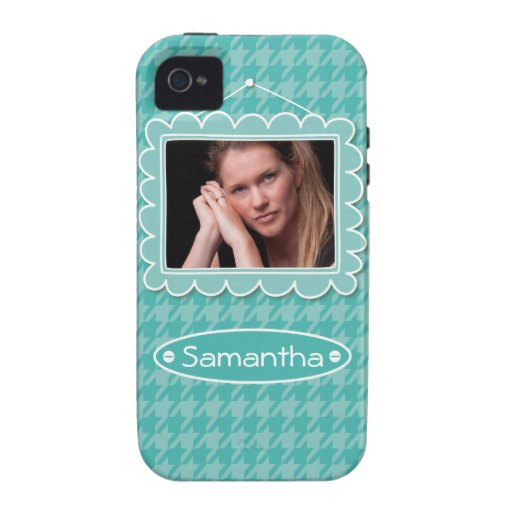 Cute photo frame with houndstooth pattern iPhone 4/4S covers