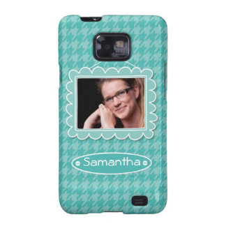 Cute photo frame with houndstooth pattern samsung galaxy s cases