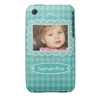 Cute photo frame with houndstooth pattern iPhone 3 case