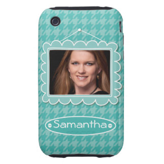 Cute photo frame with houndstooth pattern iPhone 3 tough covers