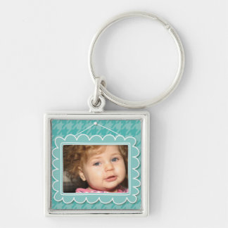 Cute photo frame with houndstooth pattern keychain
