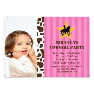 Cute Photo Little Cowgirl Birthday Party Card