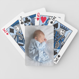 Cute Photo of Baby Boy Caden on White Blanket Bicycle Playing Cards