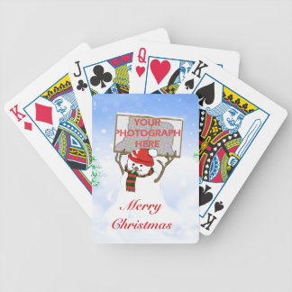 Cute photo snowman Christmas playing cards