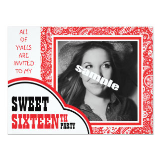 Cute Photo Sweet SIXTEEN Girl's Birthday Party 6.5x8.75 Paper Invitation Card