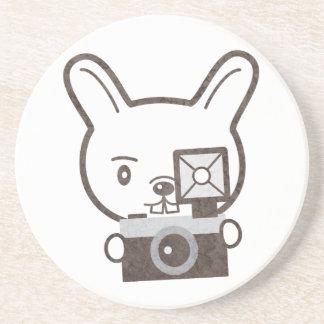 Cute Photographer Rabbit Drink Coaster