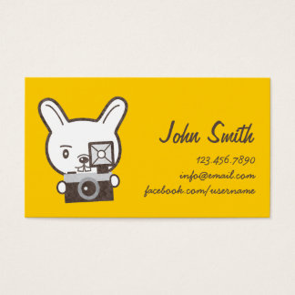 Cute Photographer Rabbit Yellow Profile Card