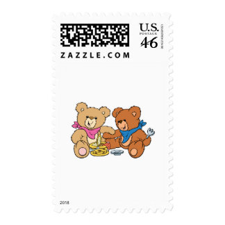 Cute Picnic Bears Postage Stamp