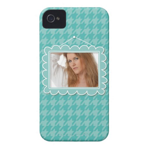 Cute picture frame with a blue houndstooth Case-Mate blackberry case