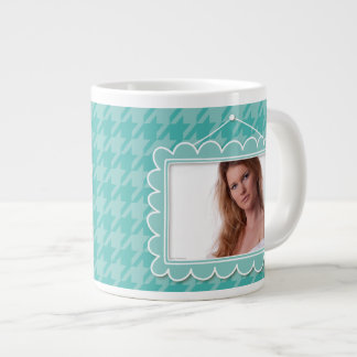 Cute picture frame with blue houndstooth giant coffee mug