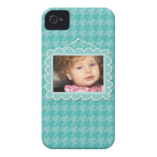 Cute picture frame with blue houndstooth iPhone 4 case