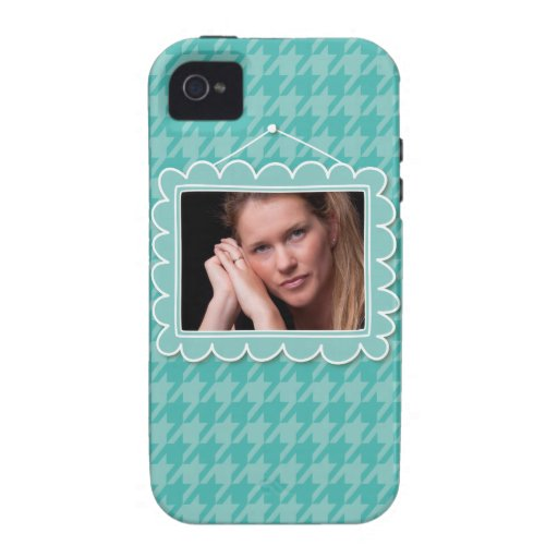 Cute picture frame with blue houndstooth pattern iPhone 4/4S cover