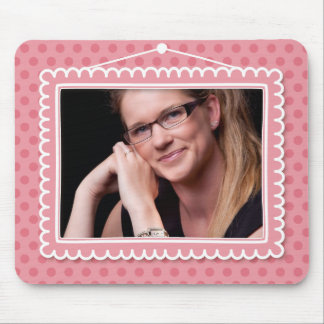 Cute picture frame with polkadots mouse pad