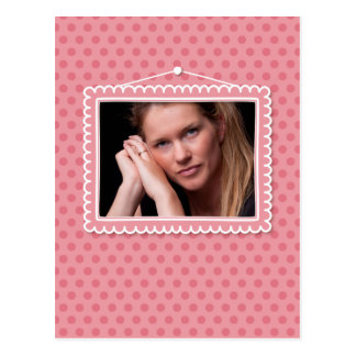 Cute picture frame with polkadots postcard