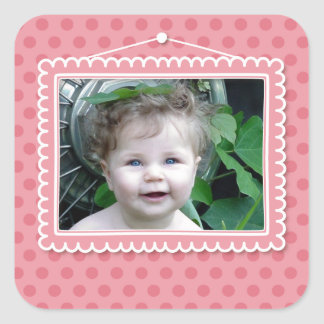 Cute picture frame with polkadots square sticker