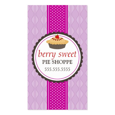 Modern Light Purple Background with Pink Ribbon Cute Pie Shoppe Business Cards