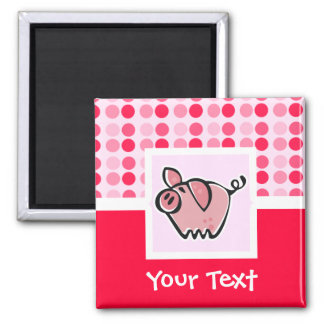 Cute Pig 2 Inch Square Magnet
