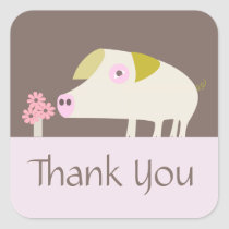 Cute Pig and Pink Flowers brown Square Sticker