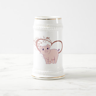 Cute Pig and Swirl Heart Beer Stein