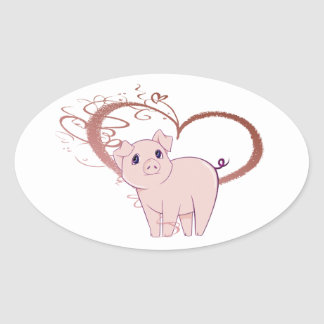 Cute Pig and Swirl Heart Oval Sticker