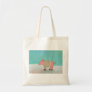 Cute pig art winter snow scene warm sweater budget tote bag
