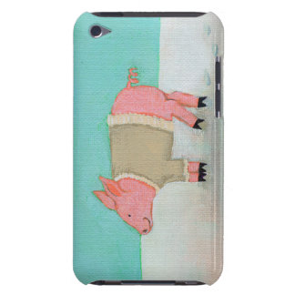 Cute pig art winter snow scene warm sweater barely there iPod case