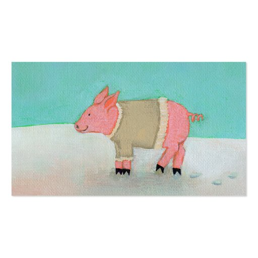 Cute pig art winter snow scene warm sweater Double-Sided standard business cards (Pack of 100)