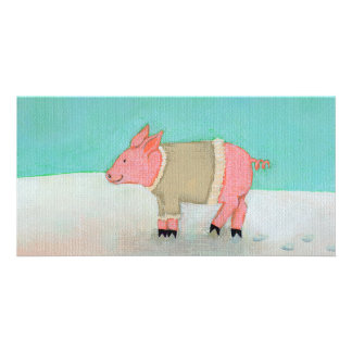 Cute pig art winter snow scene warm sweater card