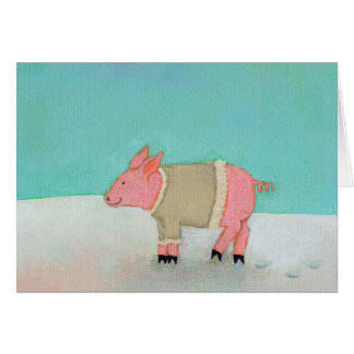 Cute pig art winter snow scene warm sweater greeting card