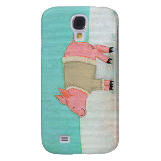 Cute pig art winter snow scene warm sweater galaxy s4 cover