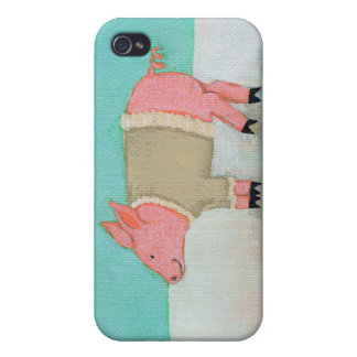 Cute pig art winter snow scene warm sweater cases for iPhone 4