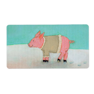 Cute pig art winter snow scene warm sweater shipping label