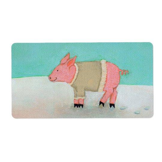 Cute pig art winter snow scene warm sweater label